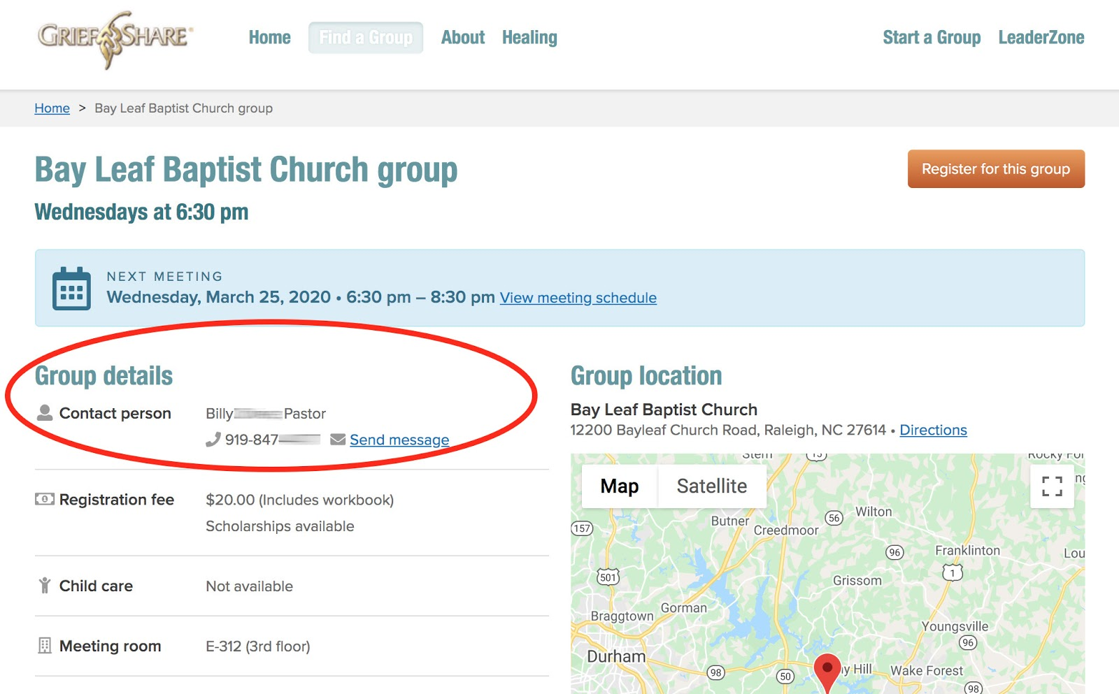 Group detail page