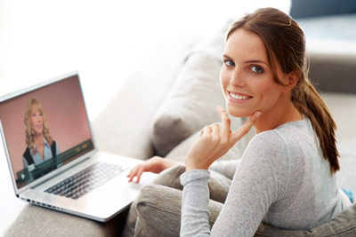 Angela on laptop